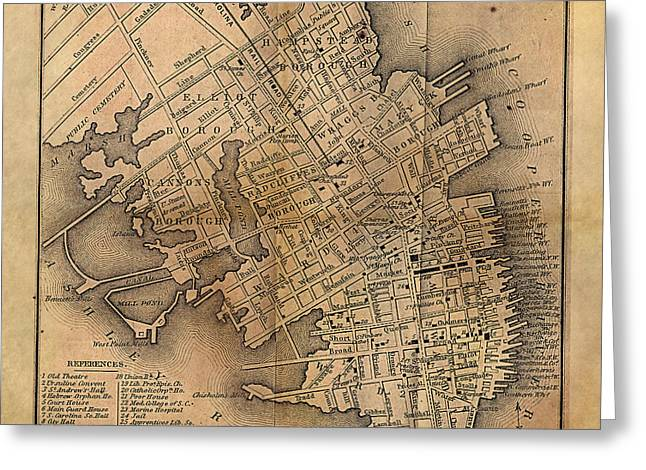 Charleston Vintage Map No. I Greeting Card by James Christopher Hill