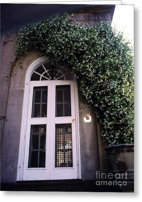Art Nouveau Greeting Cards - Charleston French Quarter White Door With Green Ivy Arch Greeting Card by Kathy Fornal