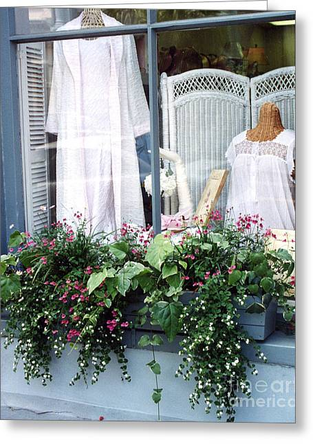 Window Box Greeting Cards - Charleston Window Boxes - Charleston Flowers Window Box and Lingerie Shop  Greeting Card by Kathy Fornal