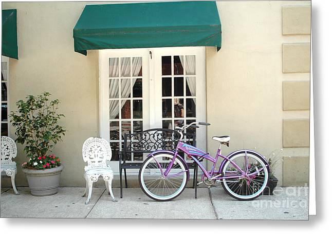French Doors Greeting Cards - Charleston Windows and Bicycle Street Scene - Charleston French Quarter Architecture and Bicycle Greeting Card by Kathy Fornal