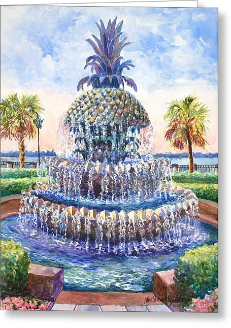 Palmetto Trees Greeting Cards - Charlestons Pineapple Fountain Greeting Card by Alice Grimsley