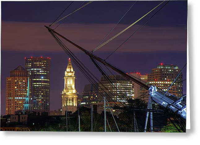 Night Scenes Greeting Cards - Charlestown Navy Yard and the Custom House Greeting Card by Joann Vitali
