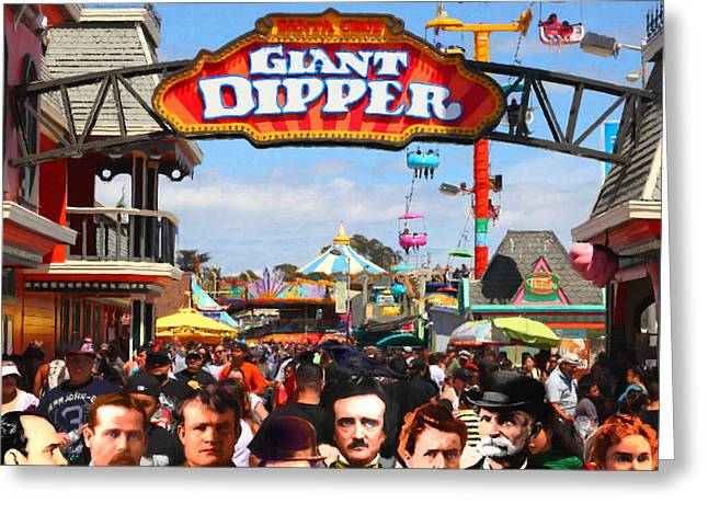Santa Cruz Digital Greeting Cards - Charlie and Friends Cannot Decide Between The Giant Dipper The Sky Gliders Or The Side Shows sq v2 Greeting Card by Wingsdomain Art and Photography