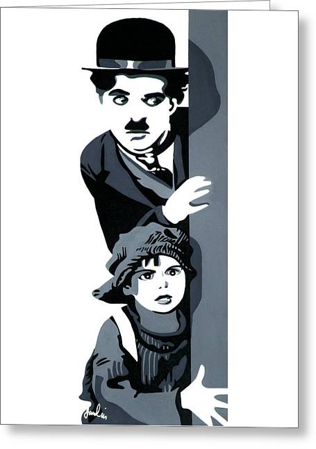 The Little Tramp Greeting Cards - Charlie and the Kid Greeting Card by Ian  King