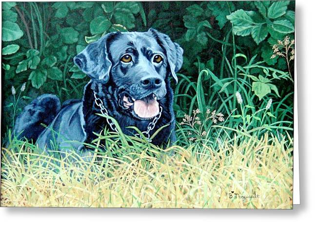 Black Labrador Retreiver Greeting Cards - Charlie Greeting Card by Beverly Theriault