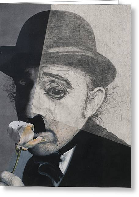 Chaplin Greeting Cards - Charlie Chaplin, 1990s, Mixed Media Greeting Card by Carolyn Hubbard-Ford