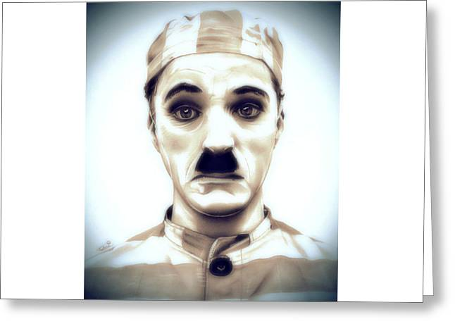 Chaplin Greeting Cards - Charlie Chaplin Adventurer Greeting Card by Fred Larucci