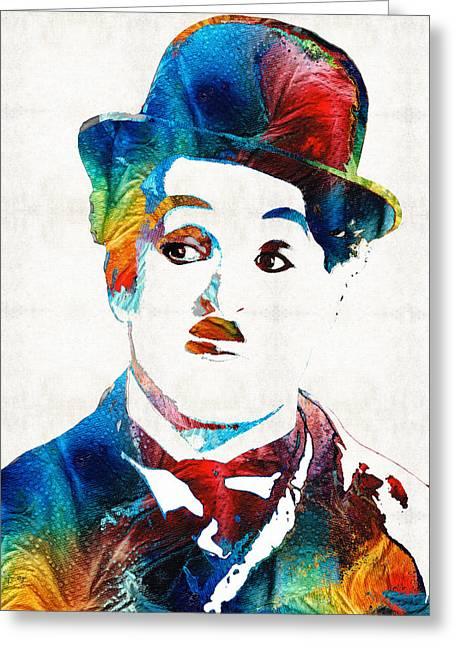 Chaplin Greeting Cards - Charlie Chaplin Art - Oh Charlie - By Sharon Cummings Greeting Card by Sharon Cummings