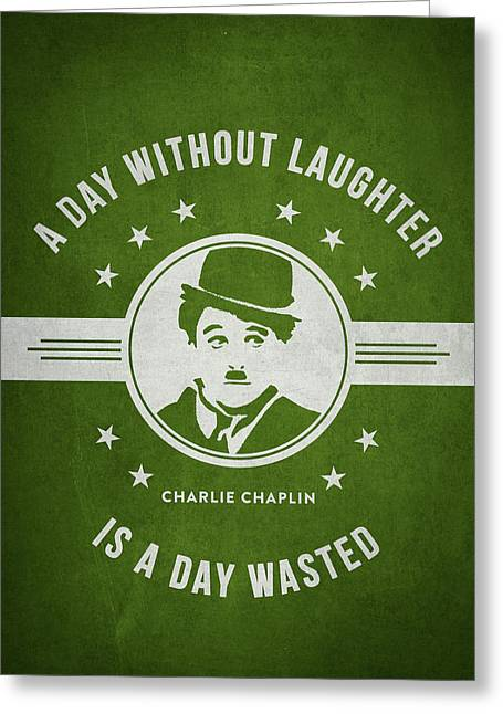 Charlie Chaplin Greeting Cards - Charlie Chaplin - Green Greeting Card by Aged Pixel