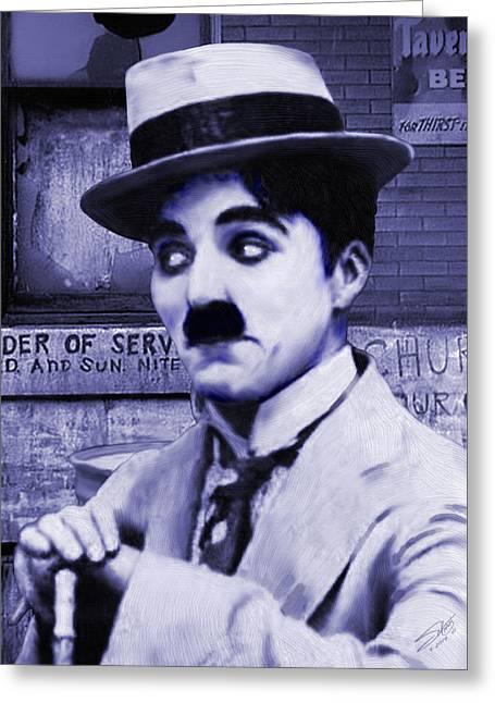 Pantomimes Greeting Cards - Charlie Chaplin Greeting Card by Matthew Schwartz