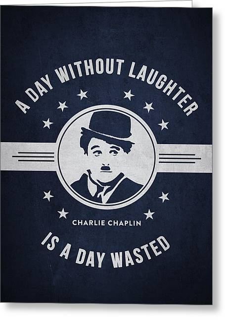 Charlie Chaplin Greeting Cards - Charlie Chaplin - navy Blue Greeting Card by Aged Pixel