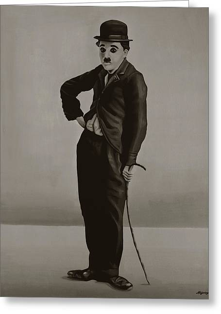 Tramping Greeting Cards - Charlie Chaplin Greeting Card by Paul Meijering