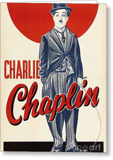 Chaplin Poster Greeting Cards - Charlie  Chaplin Greeting Card by Pg Reproductions