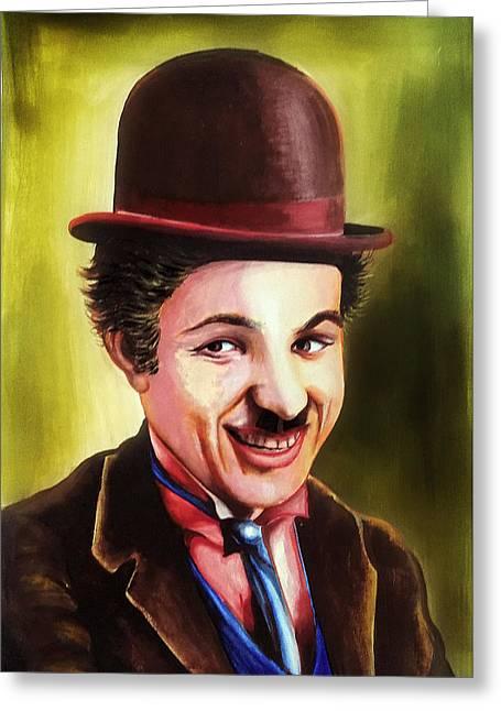 Award Digital Art Greeting Cards - Charlie Chaplin Portrait Greeting Card by Arun Sivaprasad