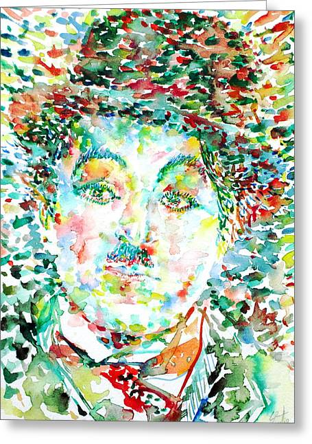 Mustache Greeting Cards - CHARLIE CHAPLIN - watercolor portrait Greeting Card by Fabrizio Cassetta