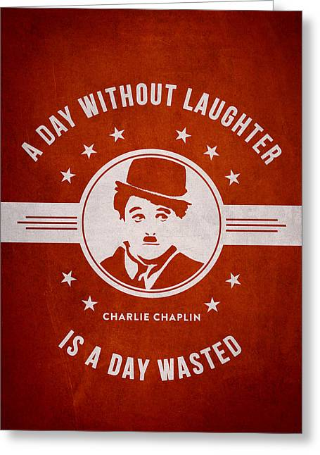 Charlie Chaplin Greeting Cards - Charlie Chaplin - Red Greeting Card by Aged Pixel