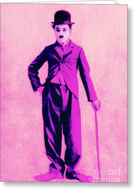Charlie Chaplin Greeting Cards - Charlie Chaplin The Tramp 20130216 Greeting Card by Wingsdomain Art and Photography