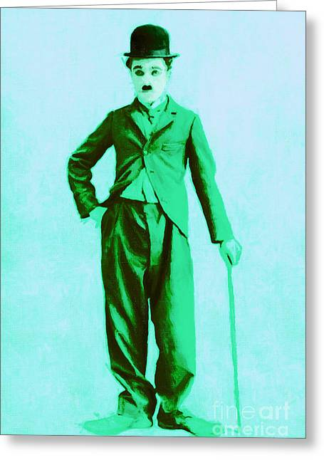 Comedian Digital Art Greeting Cards - Charlie Chaplin The Tramp 20130216m150 Greeting Card by Wingsdomain Art and Photography