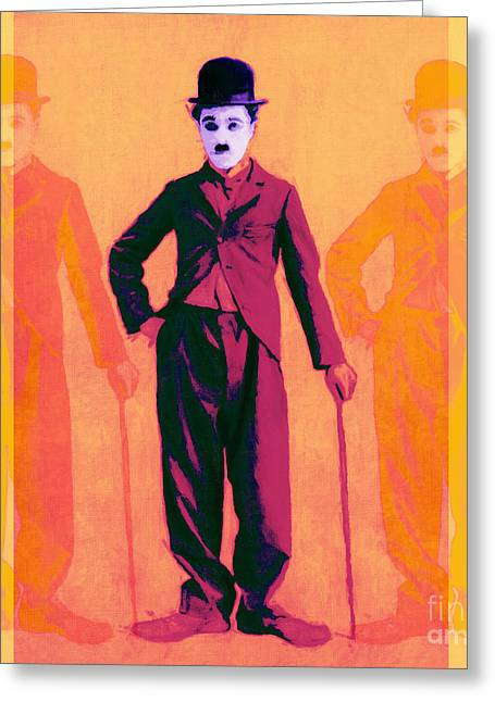 The Tramp Greeting Cards - Charlie Chaplin The Tramp Three 20130216 Greeting Card by Wingsdomain Art and Photography