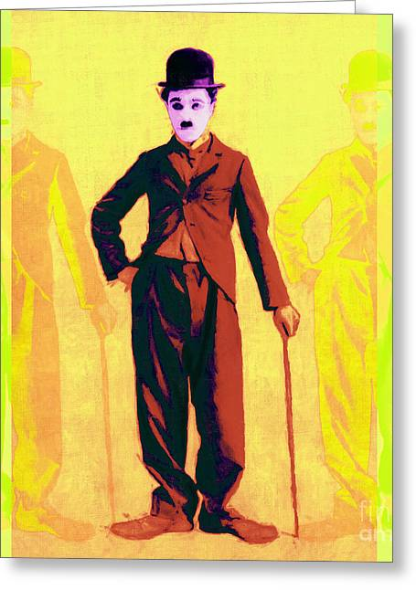Comedian Greeting Cards - Charlie Chaplin The Tramp Three 20130216p30 Greeting Card by Wingsdomain Art and Photography