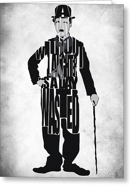 Typography Print Greeting Cards - Charlie Chaplin Typography Poster Greeting Card by Ayse Deniz