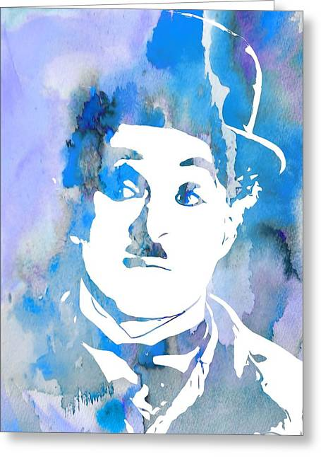Award Digital Greeting Cards - Charlie Chaplin Watercolor Blue Greeting Card by Dan Sproul