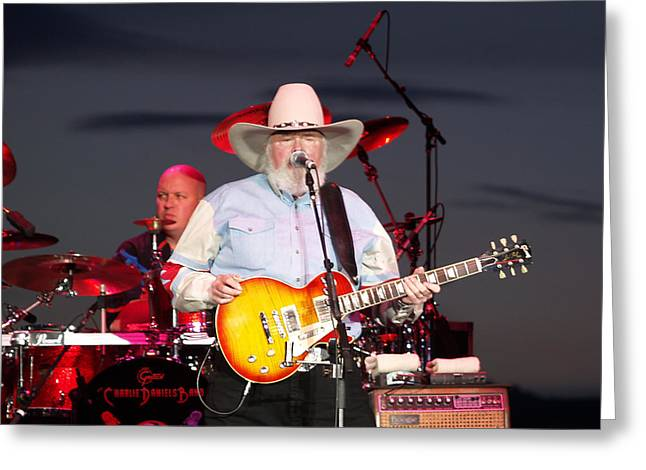 Player Greeting Cards - Charlie Daniels Greeting Card by Bill Gallagher