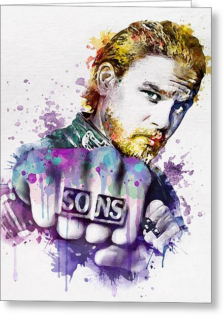 Wall Mixed Media Greeting Cards - Charlie Hunnam as Jax in watercolor Greeting Card by Marian Voicu