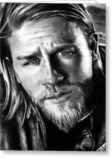 Teller Greeting Cards - Charlie Hunnam as JAX TELLER Greeting Card by Rick Fortson