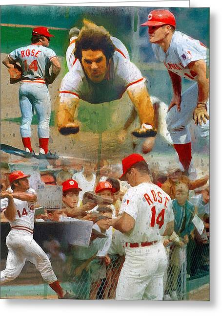League Paintings Greeting Cards - Charlie Hustle A Collage Greeting Card by John Farr