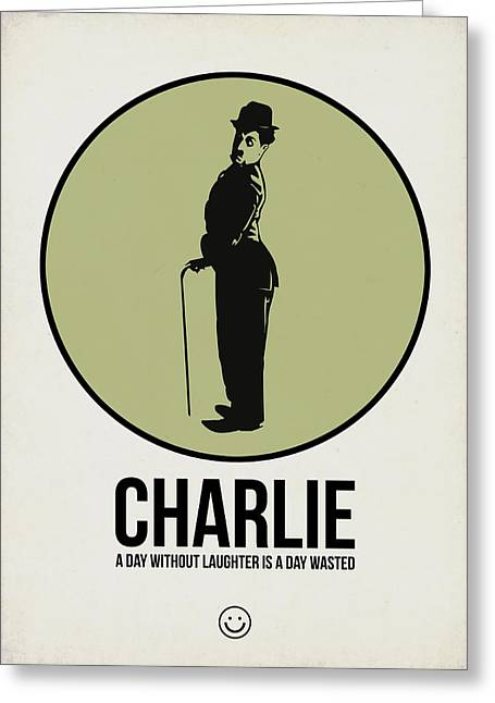 Chaplin Poster Greeting Cards - Charlie Poster 1 Greeting Card by Naxart Studio
