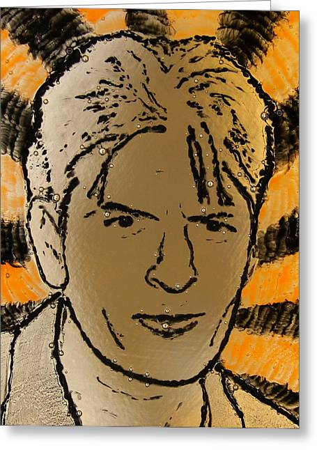 Fused Glass Art Greeting Cards - Charlie Sheen Greeting Card by Gaby Tench