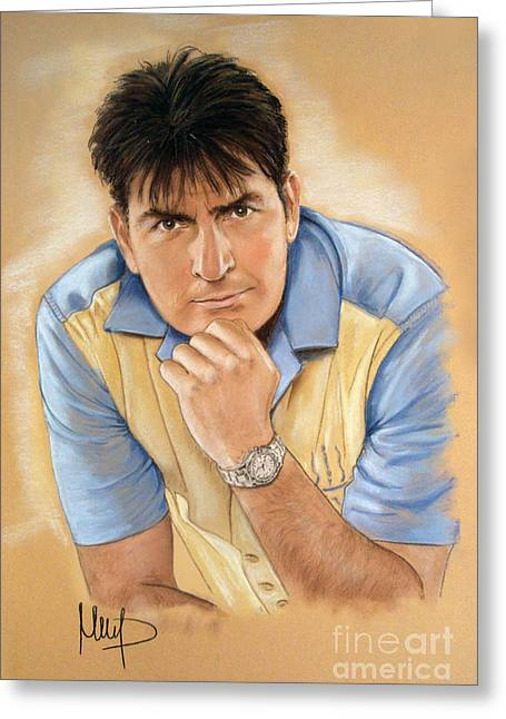 Sheen Greeting Cards - Charlie Sheen Greeting Card by Melanie D