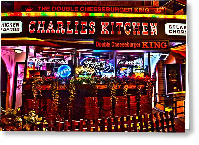Cheeseburger Digital Greeting Cards - Charlies Kitchen in Harvard Square Greeting Card by Toby McGuire