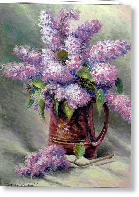 Lilac Pastels Greeting Cards - Charlies Lilacs Greeting Card by Theresa Shelton