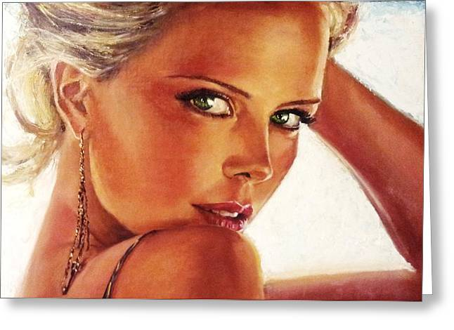 Charlize Theron Greeting Cards - Charlize Greeting Card by Igor Stroev