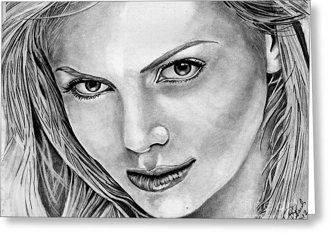 Charlize Theron Greeting Card by Bill Richards
