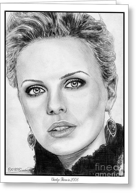 Charlize Theron In 2008 Greeting Card by J McCombie