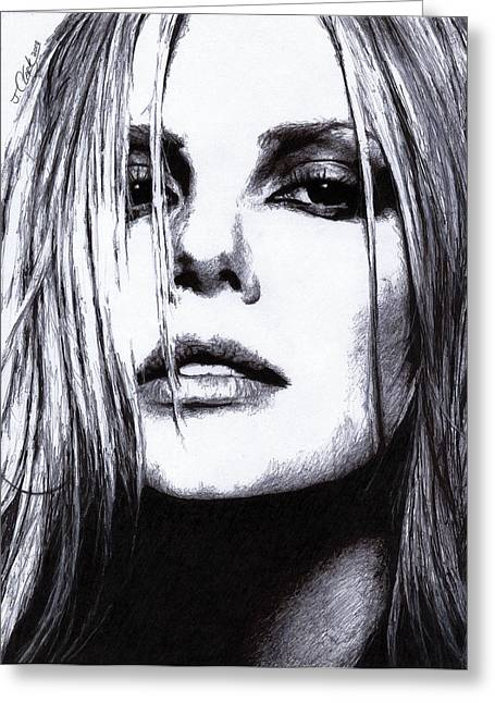 Charlize Theron Greeting Card by Justin Clark
