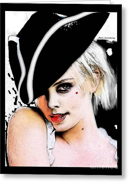 Pirates Greeting Cards - Charlize Theron Pirate Portrait Greeting Card by Alan Armstrong