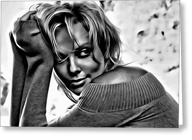 Charlize Theron Portrait Greeting Card by Florian Rodarte