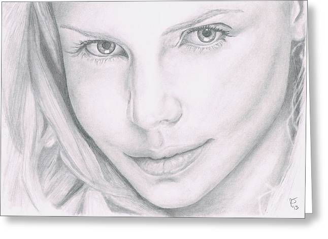 Charlize Theron Greeting Card by Ryan Jacobson