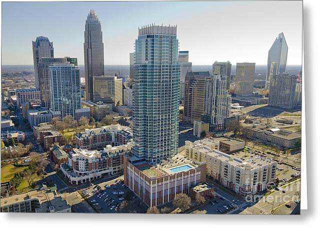 Clear Sky Images Greeting Cards - Charlotte Aerial Vue Greeting Card by Clear Sky Images