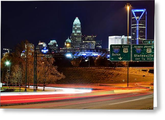 Downtown Charlotte Nc Greeting Cards - Charlotte at Night Greeting Card by Frozen in Time Fine Art Photography