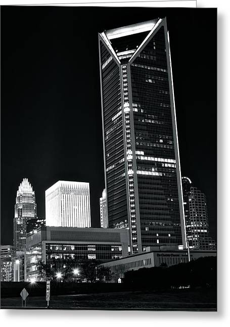 Charlotte Greeting Cards - Charlotte Black and White Night Greeting Card by Frozen in Time Fine Art Photography