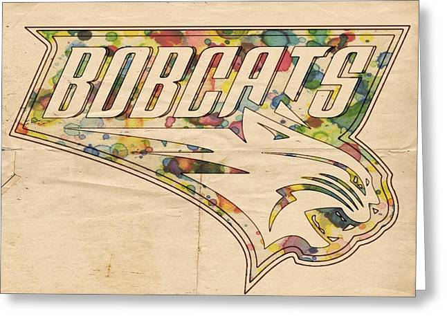 Slamdunk Digital Greeting Cards - Charlotte Bobcats Vintage Poster Greeting Card by Florian Rodarte
