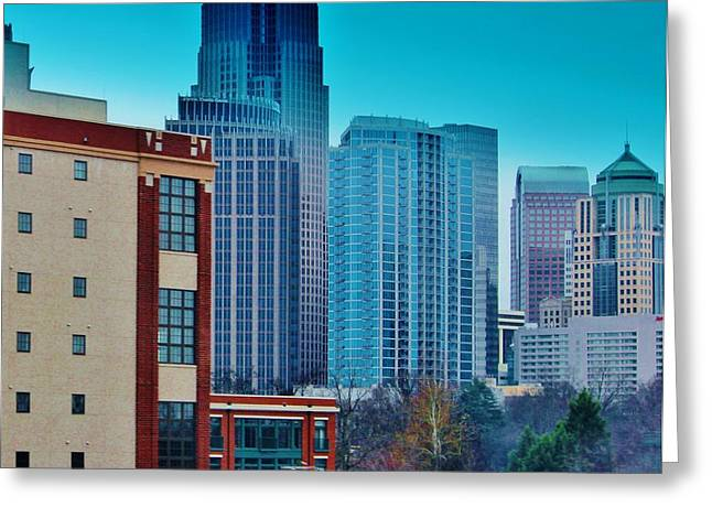 Charlotte Digital Art Greeting Cards - Charlotte Buildings Greeting Card by Cynthia Guinn