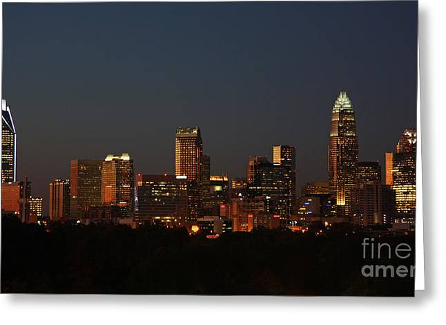 Dnc Greeting Cards - Charlotte City Skyline at Sunset Greeting Card by Kevin McCarthy