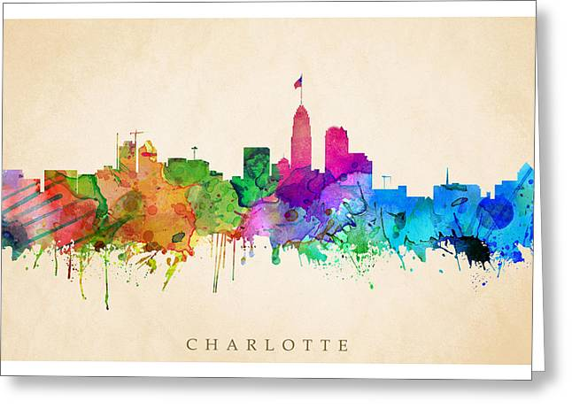 Charlotte Digital Art Greeting Cards - Charlotte Cityscape Greeting Card by Steve Will