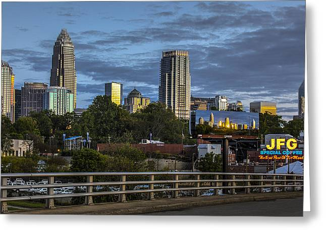 Charlotte Uptown Greeting Cards - Charlotte Coffee Greeting Card by Chris Austin